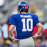 Oct 25, 2015; East Rutherford, NJ, USA; New York Giants quarterback Eli Manning (10) warms up during pre game at MetLife Stadium. Mandatory Credit: William Hauser-USA TODAY Sports