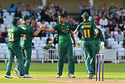 Ish Sodhi celebrates the wicket of Ross Whiteley (not shown) during the Natwest T20 Blast North Group match between Nottinghamshire County Cricket Club and Worcestershire County Cricket Club at Trent Bridge, West Bridgford, United Kingdom on 26 July 2017. Photo by Simon Trafford.