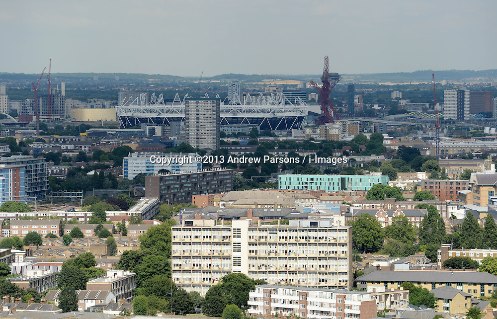 General View of the Olympic Stadium in East London, United Kingdom<br /> Tuesday, 6th August 2013<br /> Picture by Andrew Parsons / i-Images