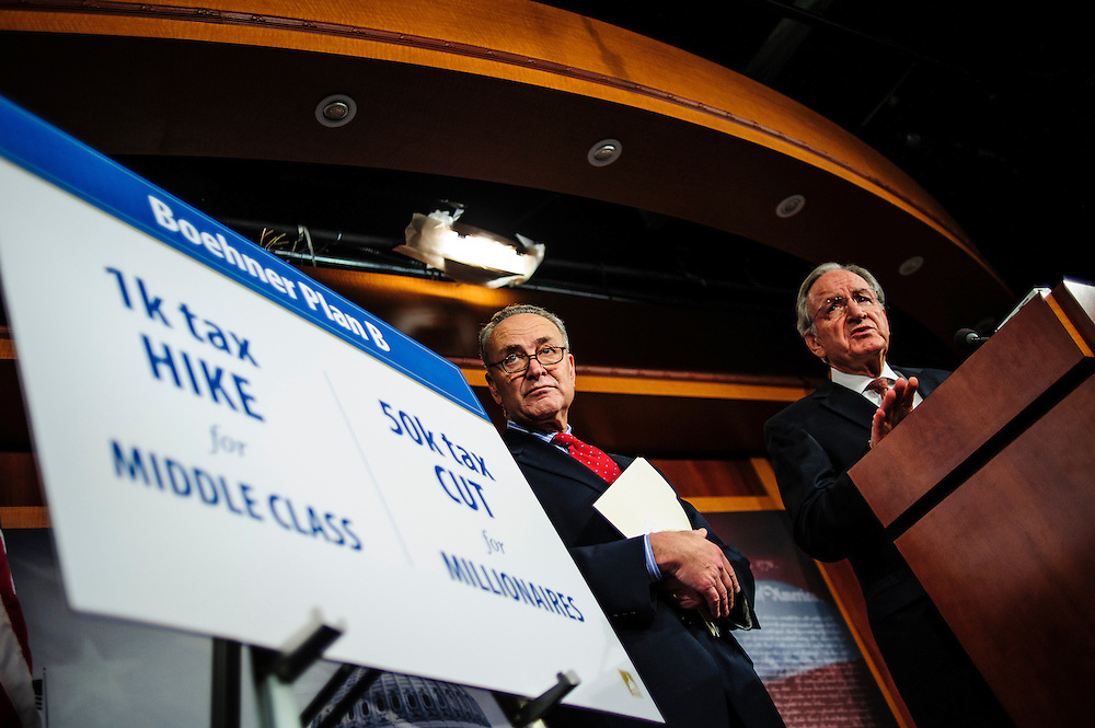 Senator CHUCK SCHUMER (D-NY) and Senator TOM HARKIN (D-IA) hold a news conference on Capitol Hill Wednesday to discuss the fiscal cliff plan.