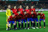 Spain's David De Gea Marc Bartra Sergio Busquets Nacho Monreal Alvaro Morata David Silva Dani Carvajal Nacho Fernandez Vitolo Machin Koke Resurreccion Thiago Alcantara  during the match of European qualifying round between Spain and Macedonia at Nuevo Los Carmenes Stadium in Granada, Spain. November 12, 2016. (ALTERPHOTOS/Rodrigo Jimenez)