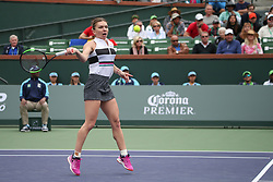 March 10, 2019 - Indian Wells, CA, U.S. - INDIAN WELLS, CA - MARCH 10: Simona Halep (ROU) hits a forehand during the BNP Paribas Open on March 10, 2019 at Indian Wells Tennis Garden in Indian Wells, CA. (Photo by George Walker/Icon Sportswire) (Credit Image: © George Walker/Icon SMI via ZUMA Press)