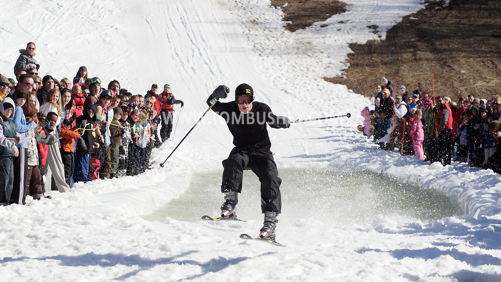Warwick, NY - A skier goes airborne after crossing the water at the end of a run during the Spring Rally at Mount Peter in Warwick on March 29, 2008.