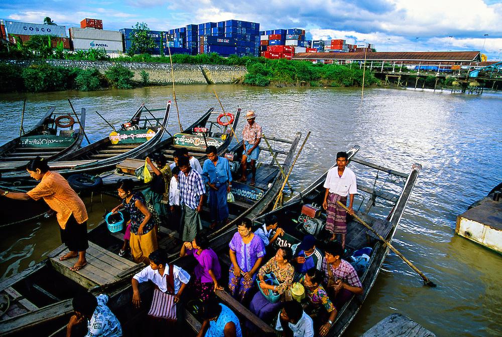 Burmese people aboard a ferry on the Yangon River (off Strand Road), Yangon (Rangoon), Burma (Myanmar)