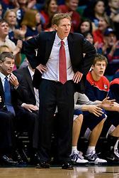 January 30, 2010; San Francisco, CA,USA;  Gonzaga Bulldogs head coach Mark Few during the first half against the San Francisco Dons at the War Memorial Gym.   San Francisco defeated Gonzaga 81-77 in overtime.