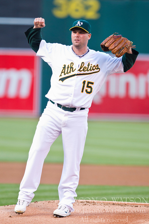 July 19, 2010; Oakland, CA, USA;  Oakland Athletics starting pitcher Ben Sheets (15) during the first inning against the Boston Red Sox at Oakland-Alameda County Coliseum. Boston defeated Oakland 2-1.