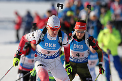 11.03.2016, Holmenkollen, Oslo, NOR, IBU Weltmeisterschaft Biathlon, Oslo, 4x6 Km Staffel, Damen, im Bild Magdalena Gwizdon (POL), Franziska Preuss (GER) // during 4x6 km women relay of the IBU World Championships, Oslo 2016 at the Holmenkollen in Oslo, Norway on 2016/03/11. EXPA Pictures © 2016, PhotoCredit: EXPA/ Newspix/ Tomasz Jastrzebowski<br /> <br /> *****ATTENTION - for AUT, SLO, CRO, SRB, BIH, MAZ, TUR, SUI, SWE only*****