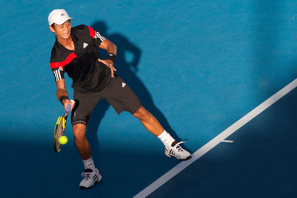 Taiwan's Yen-Hsun Lu defeats Spain's David Ferrer, 6-4, 7-6, in his semifinal singles match at the Heineken Open Men's Tennis Tournament, Auckland, New Zealand, Friday, January 10, 2014.  Credit:SNPA / David Rowland