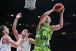 Rolands Freimanis of Latvia vs Alen Omic of Slovenia during basketball match between Latvia and Slovenia at Day 8 in Round of 16 of FIBA Europe Eurobasket 2015, on September 12, 2015, in LOSC Lile stadium, Croatia. Photo by Marko Metlas / MN PRESS PHOTO / SPORTIDA