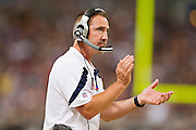 ST. LOUIS, MO - SEPTEMBER 11:   Head Coach Steve Spagnuolo of the St. Louis Rams claps for his team during a game against the Philadelphia Eagles at the Edward Jones Dome on September 11, 2011 in St. Louis, Missouri.  The Eagles defeated the Rams 31 to 13.  (Photo by Wesley Hitt/Getty Images) *** Local Caption *** Steve Spagnuolo