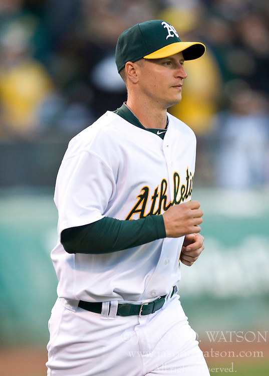 April 5, 2010; Oakland, CA, USA;  Oakland Athletics second baseman Mark Ellis (14) before the game against the Seattle Mariners at Oakland-Alameda County Coliseum. Seattle defeated Oakland 5-3.