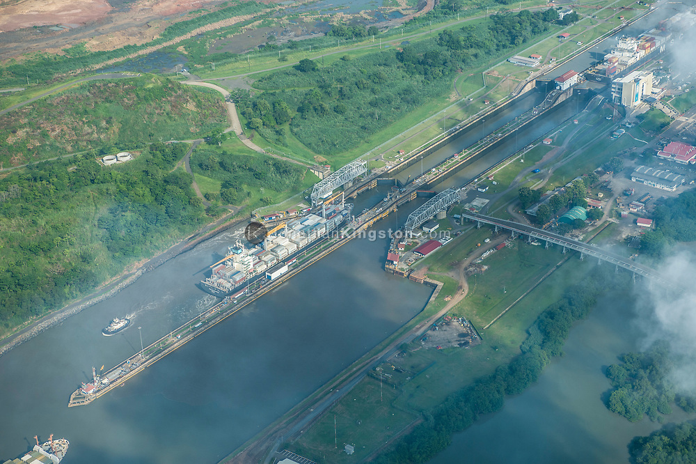 Aerial view of the Miraflores locks on the Panama canal, Panama.