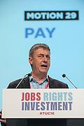 Chris Baugh, PCS vice president speaking at the TUC congress 2016, Brighton. UK.