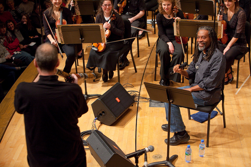 "Bobby McFerrin during a concert of  ""Migrations"" at Lawrence University.  Photo by Mike Roemer / Mike Roemer Photography Inc."