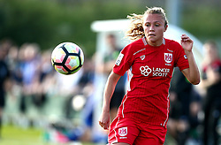 Claire Emslie of Bristol City Women watches the ball drop - Mandatory by-line: Robbie Stephenson/JMP - 31/05/2017 - FOOTBALL - Stoke Gifford Stadium - Bristol, England - Bristol City Women v Chelsea Ladies - FA Women's Super League Spring Series