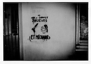 22..Graffitti on wall of apartment block, Belleville.