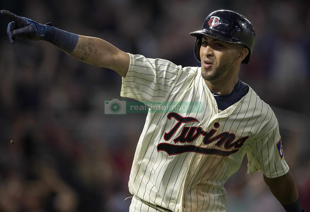 September 13, 2017 - Minneapolis, MN, USA - The Minnesota Twins' Eddie Rosario celebrates his walk-off two-run home run in the 10th inning against the San Diego Padres on Wednesday, Sept. 13, 2017, at Target Field in Minneapolis. The Twins won, 3-1, in 10 innings. (Credit Image: © Carlos Gonzalez/TNS via ZUMA Wire)