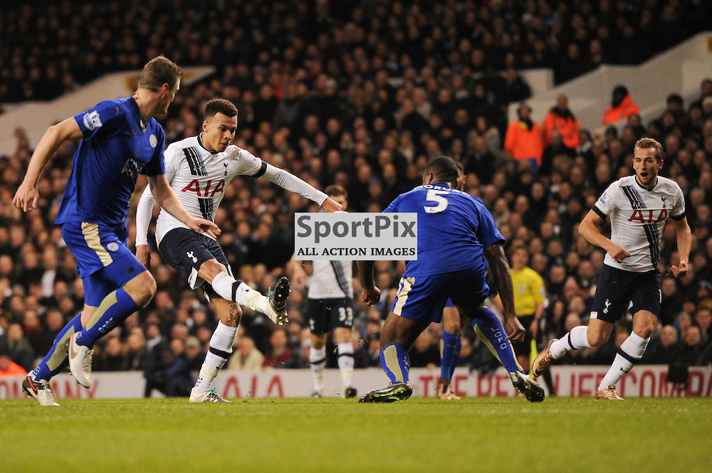 Tottenhams Dele Alli breaks through the Leciester defence during the Tottenham v Leciester City match in the Barclays Premier League on the 13th January 2016.