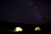 A starry night above tents in the Tien Shan mountains of Kyrgyzstan.