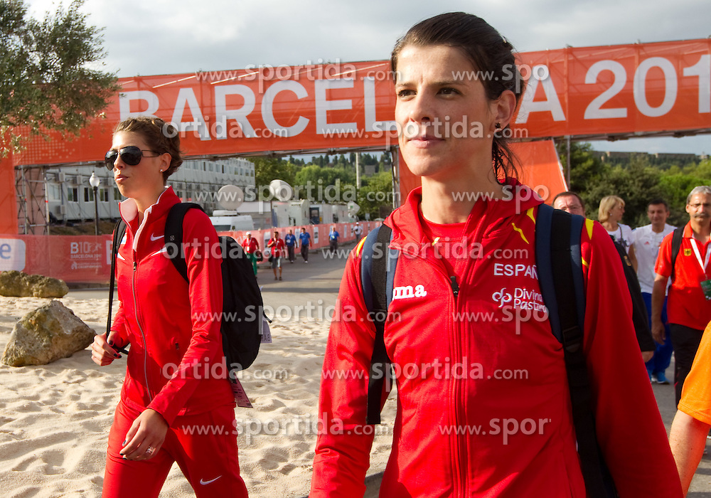 Blanka Vlasic of Croatia and Ruth Beitia od Spain going to the Womens High Jump Qualifying during day four of the 20th European Athletics Championships at the Olympic Stadium on July 30, 2010 in Barcelona, Spain. (Photo by Vid Ponikvar / Sportida)