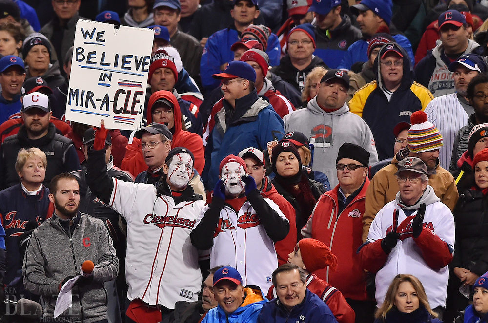 Oct 26, 2016; Cleveland, OH, USA; Cleveland Indians fans hold up a sign against the Chicago Cubs in the 6th inning in game two of the 2016 World Series at Progressive Field. Mandatory Credit: Ken Blaze-USA TODAY Sports