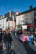 Rennes, FRANCE. General Views GV's. Rennes weekly regional market. Brittany,<br /> Vegetable's, Fruit, Flowers, Fish, Game, Meat, Cheese, local wine and cider, sold from stalls in the open and covered market  <br /> <br /> 08:58:11  Saturday  26/04/2014 <br /> <br />  [Mandatory Credit: Peter Spurrier/Intersport<br /> Images]