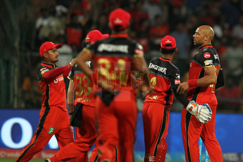 Tymal Mills of Royal Challengers Bangalore celebrates wicket of Aditya Tare of Delhi Daredevils during match 5 of the Vivo 2017 Indian Premier League between the Royal Challengers Bangalore and the Delhi Daredevils held at the M.Chinnaswamy Stadium in Bangalore, India on the 8th April 2017Photo by Prashant Bhoot - IPL - Sportzpics