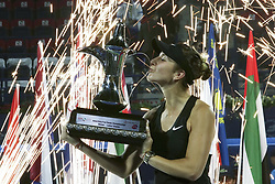 DUBAI-, Feb. 24, 2019  Belinda Bencic of Switzerland kiss the trophy after winning the women's singles final match between Belinda Bencic of Switzerland and Petra Kvitova of the Czech Republic at Dubai Duty Free Tennis WTA Championships 2019 in Dubai, the United Arab Emirates, Feb. 23, 2019. Belinda Bencic won 2-1 and claimed the title. (Credit Image: © Xinhua via ZUMA Wire)