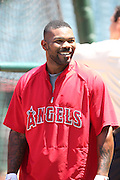 ANAHEIM, CA - JUNE 5:  Howie Kendrick #47 of the Los Angeles Angels of Anaheim smiles during batting practice before the game against the Chicago Cubs on Wednesday, June 5, 2013 at Angel Stadium in Anaheim, California. The Cubs won the game 8-6 in ten innings. (Photo by Paul Spinelli/MLB Photos via Getty Images) *** Local Caption *** Howie Kendrick