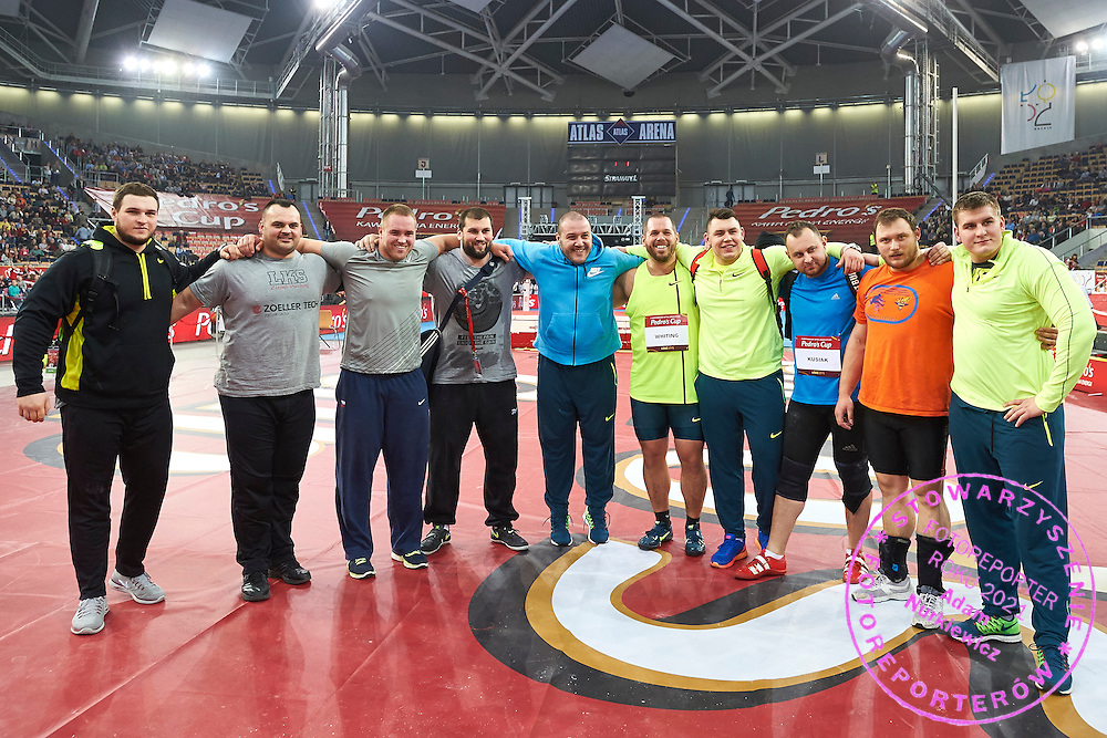 (5R) Ryan Withing from USA among another shot put athletes pose to the picture after men's shot put final during athletics meeting Pedro's Cup at Atlas Arena in Lodz, Poland.<br /> <br /> Poland, Lodz, February 17, 2015<br /> <br /> Picture also available in RAW (NEF) or TIFF format on special request.<br /> <br /> For editorial use only. Any commercial or promotional use requires permission.<br /> <br /> Adam Nurkiewicz declares that he has no rights to the image of people at the photographs of his authorship.<br /> <br /> Mandatory credit:<br /> Photo by &copy; Adam Nurkiewicz / Mediasport