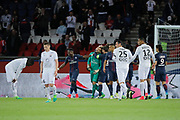 Kevin Trapp (PSG) stopped the ball kicked by Jonathan DELAPLACE (SM Caen), celebrated with Maxwell Scherrer Cabelino Andrade (psg), Serge Aurier (psg), Marcos Aoas Correa dit Marquinhos (PSG), Blaise Mathuidi (psg), Adrien Rabiot (psg), 0p, desapointed by Jonathan DELAPLACE (SM Caen), Jean-Victor MAKENGO (SM Caen), Julien FERET (SM Caen), Ronny RODELIN (SM Caen) during the French Championship Ligue 1 football match between Paris Saint-Germain and SM Caen on May 20, 2017 at Parc des Princes stadium in Paris, France - Photo Stephane Allaman / ProSportsImages / DPPI