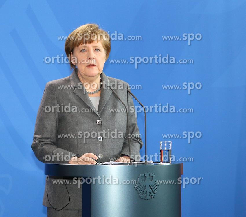 31.03.2015, Bundeskanzleramt, Berlin, GER, SPO, Staatsbesuch, Hollande, im Bild Bundeskanzlerin Angela Merkel (CDU) // POL during the 17th German- French Council of Ministers Bundeskanzleramt in Berlin, Germany on 2015/03/31. EXPA Pictures &copy; 2015, PhotoCredit: EXPA/ Eibner-Pressefoto/ Hundt<br /> <br /> *****ATTENTION - OUT of GER*****