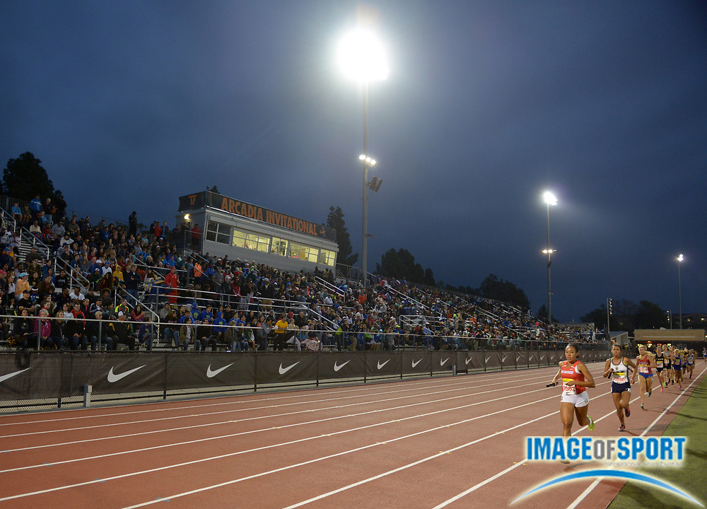 Apr 12, 2014; Arcadia, CA, USA; General view of the girls distance medley relay in the 47th Arcadia Invitational at Arcadia High.