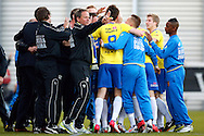 Onderwerp/Subject: Cambuur Leeuwarden - Jupiler League<br /> Reklame:  <br /> Club/Team/Country: <br /> Seizoen/Season: 2012/2013<br /> FOTO/PHOTO: Erik BAKKER (NOT VISIBLE ON PHOTO) of Cambuur Leeuwarden celebrating his goal with teammates and coaching staff. (Photo by PICS UNITED)<br /> <br /> Trefwoorden/Keywords: <br /> #02 #18 $94 &plusmn;1367598354739<br /> Photo- &amp; Copyrights &copy; PICS UNITED <br /> P.O. Box 7164 - 5605 BE  EINDHOVEN (THE NETHERLANDS) <br /> Phone +31 (0)40 296 28 00 <br /> Fax +31 (0) 40 248 47 43 <br /> http://www.pics-united.com <br /> e-mail : sales@pics-united.com (If you would like to raise any issues regarding any aspects of products / service of PICS UNITED) or <br /> e-mail : sales@pics-united.com   <br /> <br /> ATTENTIE: <br /> Publicatie ook bij aanbieding door derden is slechts toegestaan na verkregen toestemming van Pics United. <br /> VOLLEDIGE NAAMSVERMELDING IS VERPLICHT! (&copy; PICS UNITED/Naam Fotograaf, zie veld 4 van de bestandsinfo 'credits') <br /> ATTENTION:  <br /> &copy; Pics United. Reproduction/publication of this photo by any parties is only permitted after authorisation is sought and obtained from  PICS UNITED- THE NETHERLANDS