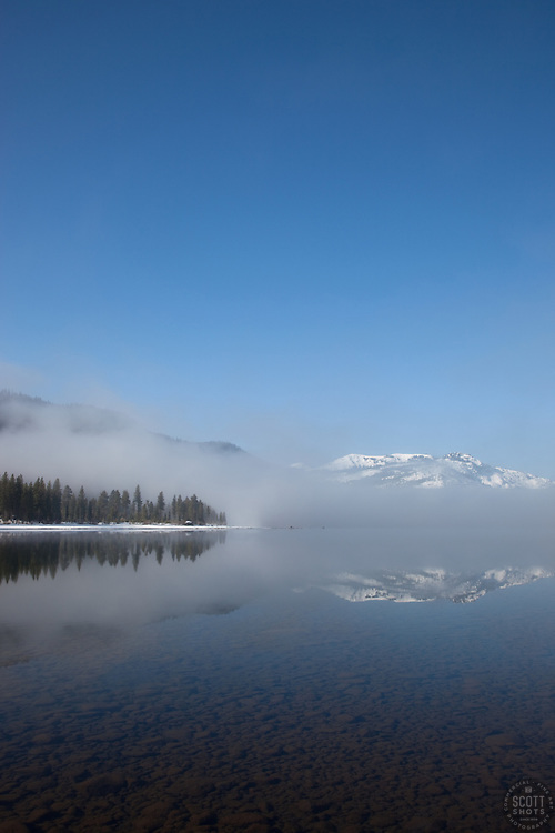 """Donner Lake Morning 1"" - These foggy lake and snow covered mountains were photographed at Donner Lake in Truckee, CA."