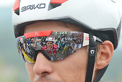 September 13, 2016 - Pingchang, China - A sunglasses reflexion of Mattia De Marchi from Androni Giocattoli team at the finish line of the fourth stage, 157.57 km from Bazhong to Pingchang, during the 2016 Tour of China 1...On Tuesday, 13 September 2016, in Pingchang, China. (Credit Image: © Artur Widak/NurPhoto via ZUMA Press)
