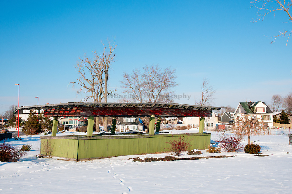 A vegetable stand sits deserted during the winter months at the Marina Park in Leamington, Ontario.