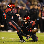 10 November 2018: San Diego State Aztecs place kicker John Baron II (29) hits a 33 yard field goal to give the Aztecs a 17-13 lead in the third quarter. The Aztecs lost 27-24 to UNLV Saturday night at SDCCU Stadium falling a game behind Fresno State in the conference standings.