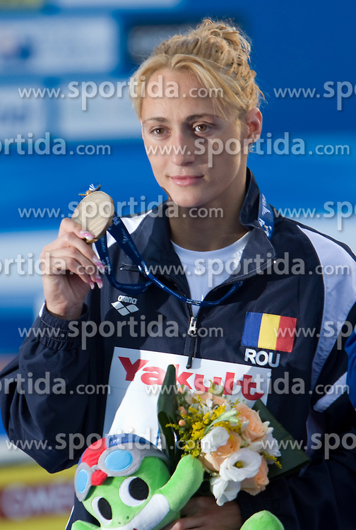 Third placed Camelia Alina Potec of Romania at the victory ceremony after the Women's 1500m Freestyle Final during the 13th FINA World Championships Roma 2009, on July 28, 2009, at the Stadio del Nuoto,  in Foro Italico, Rome, Italy. (Photo by Vid Ponikvar / Sportida)