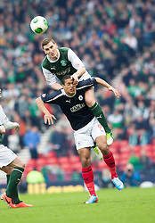 Hibs Hanlon over Falkirk's Lyle Taylor..Half time : Hibernian 0 v 3 Falkirk, William Hill Scottish Cup Semi Final, Hampden Park..©Michael Schofield..