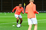 Anton Walkes (2) of Portsmouth warming up ahead of the Leasing.com EFL Trophy match between Oxford United and Portsmouth at the Kassam Stadium, Oxford, England on 8 October 2019.