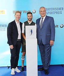 13.07.2019, BMW Welt, Muenchen, GER, Bayerischer Sportpreis Verleihung, im Bild Dieter Thoma, Markus Eisenbichler, Joachim Herrmann // during the Bavarian Sports Award at the BMW Welt in Muenchen, Germany on 2019/07/13. EXPA Pictures © 2019, PhotoCredit: EXPA/ SM<br /> <br /> *****ATTENTION - OUT of GER*****