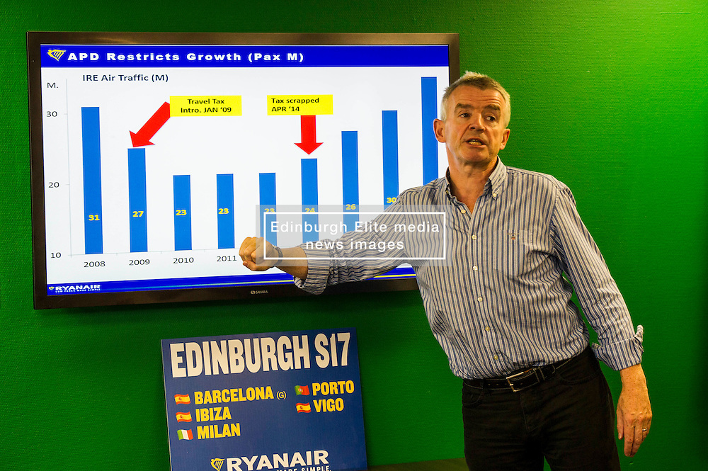 Pictured: Michael O'Leary<br /> Ryanair chief executive Michael O'Leary was on a whistle stop tour of Scotland to announce new routes from 2017. After visiting Glasgow he head to the capital to speak to the media. It was fair to say that he is no fan of the Brexit vote.<br /> <br /> Ger Harley   EEm Date