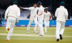 Pakistan's Mohammad Abbas celebrates taking the wicket of Mark Stoneman during day one of the First NatWest Test Series match at Lord's, London.