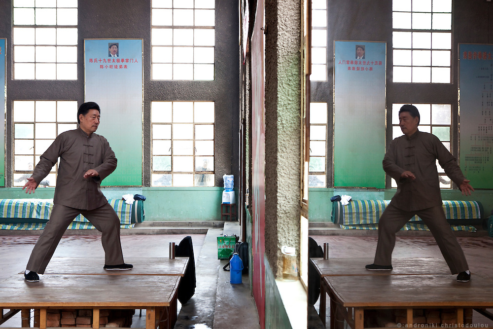 "Grandmaster Chen Xiaowang teaching Chinese Taijiquan teachers during a seminar at the Chenjiagou Taijiquan School. Grandmaster Chen Xiaowang is a world famous Chinese Taijiquan teacher, who was born and rased in Chenjiagou. Since 1990 he left China and started promoting Taijiquan around the world. He is recognized as one of four ""Buddha's Warrior Attendants,"" the four outstanding exponents of the 19th generation in Chenjiagou village."