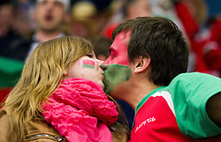 Fans of Belarus kissing during Ice Hockey match between Belarus and Slovenia at Day 2 in Group B of 2015 IIHF World Championship, on May 2, 2015 in CEZ Arena, Ostrava, Czech Republic. Photo by Vid Ponikvar / Sportida