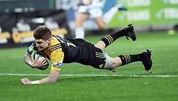 Hurricanes Jordie Barrett dives into score against the Crusaders in Super Rugby match at Westpac Stadium, Wellington, New Zealand, Saturday, July 15, 2017. Credit:SNPA / Ross Setford  **NO ARCHIVING""