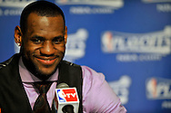 LeBron James is all smiles after the Cavs' win over Atlanta.
