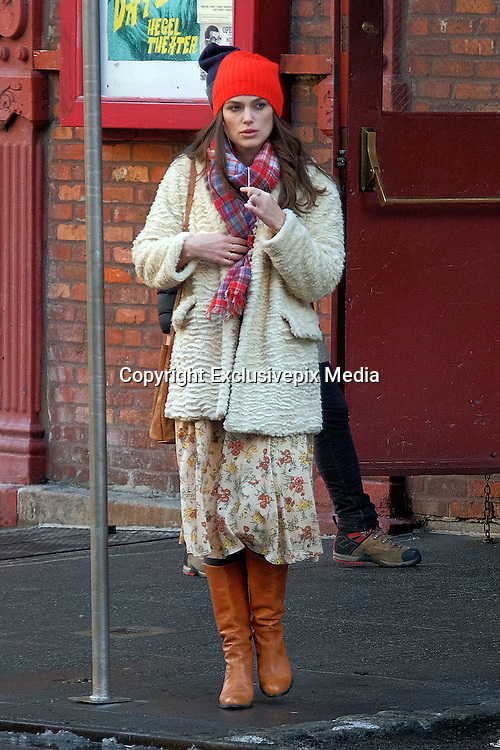 March 4, 2016 - New York City, NY, USA - <br /> Actress Keira Knightley on the set of the new movie 'Collateral Beauty' on March 4 2016 in New York City<br /> ©Exclusivepix Media
