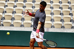May 22, 2019 - Paris, France - Fernando Verdasko of Spain during training session agaist  Kei Nishikori of Japan on Suzanne Lenglen court in the preparations of Ronald Garros finals in Paris, France, on 22 May 2019. (Credit Image: © Ibrahim Ezzat/NurPhoto via ZUMA Press)